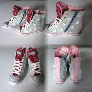 Skechers, Pink Wedge hell, Hi Top Ankle Denim,